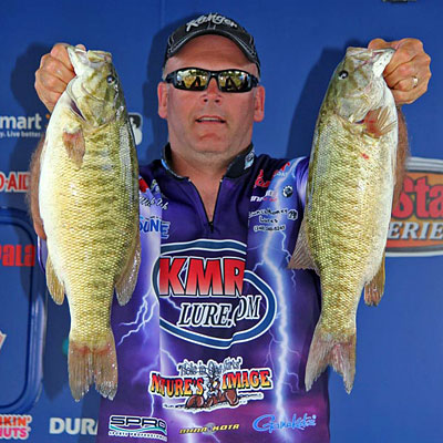 Mark Modrak moved into 2nd place on day 2 of the 2011 Detroit River EverStart Series bass tournament